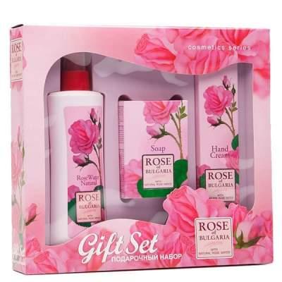 Подарочный набор Rose of Bulgaria № 2 (Натуральная розовая вода с пульвериз. 230 мл.+ Мыло с частицами лепестков роз 100 г.+ Крем для рук 75 мл.)