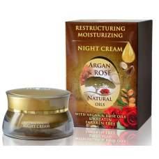 Обновляющий ночной крем с аргановым и розовым маслами и кератином, Argan & Rose, 40 мл