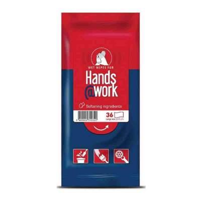 Влажные салфетки очищающие от агрессивных веществ и материалов Hands@work, 36 штук