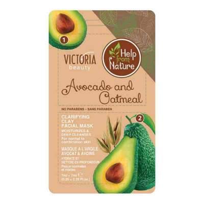 Глиняная маска для лица с авокадо и овсянкой Help from Nature, 7г + 7г