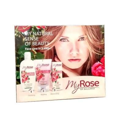 Подарочный набор №3 My Rose of Bulgaria (Мицеллярная розовая вода 220 мл + Очищающий гель для лица 150 мл + Увлажняющий крем для лица 50 мл)