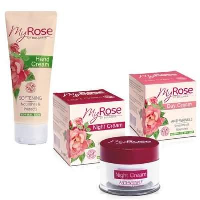 Промо-набор Кремы для лица дневной + ночной против морщин Anti-Wrinkle Night Cream My Rose of Bulgaria + Крем для рук My Rose of Bulgaria