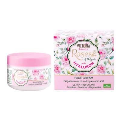Kрем для лица с болгарским розовым маслом и гиалуроновой кислотой Face cream with bulgarian rose oil and hyaluronic acid, 50 мл